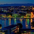 zadar harbor bay night panorama — Stock Photo
