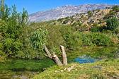 Zrmanja river and Velebit Mountain — Stock Photo