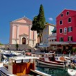 Foto Stock: Veli Losinj harbor and colorful architecture
