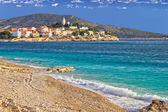 Town of Primosten sea and beach — Stock Photo