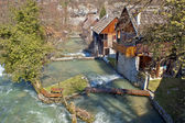 Village of Rastoke on river cascade — Stock Photo