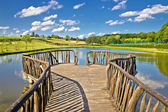 Lake in green nature wooden boardwalk — Stock Photo