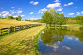 Green lake and fields landscape — Stock Photo