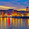 Vodice waterfront colorfu evening panorama — ストック写真