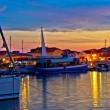Town of Vodice harbor and monument — Stockfoto
