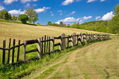 Wooden fence in green landscape — Stock Photo