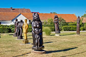 Village of Hlebine wooden statues — Stock Photo