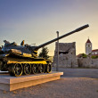 Military tank installation in Zadar — Stock Photo