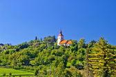Zagreb green zone hill church — Stock Photo