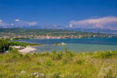 Posedarje bay and Velebit mountain — Stock Photo