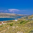 Stock Photo: Island of Pag aerial bay view