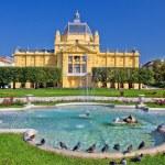 Colorful Zagreb park fountain scene — Stock Photo #42141921