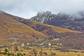 Velebit mountain village in fog — Stock Photo