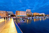 Blue hour Zadar waterfront view — Stock Photo