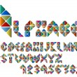 Alphabet letters and numbers from colorful mosaic — Stock Vector