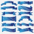 Stock Vector: Blue scribbled ribbons and banners