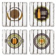 Four beer labels on old wood background — Stock Vector