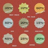 9 Vintage sale labels — Stock Vector
