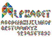 Las letras del alfabeto y los números del colorido mosaico — Vector de stock