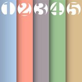 Vertical paper numbered banners in pastel colors — Stock Vector