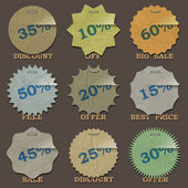 Vintage sale stickers and labels — Stock Vector