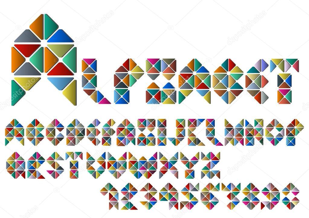 Lettere Dellalfabeto E Numeri Da Mosaico Colorato
