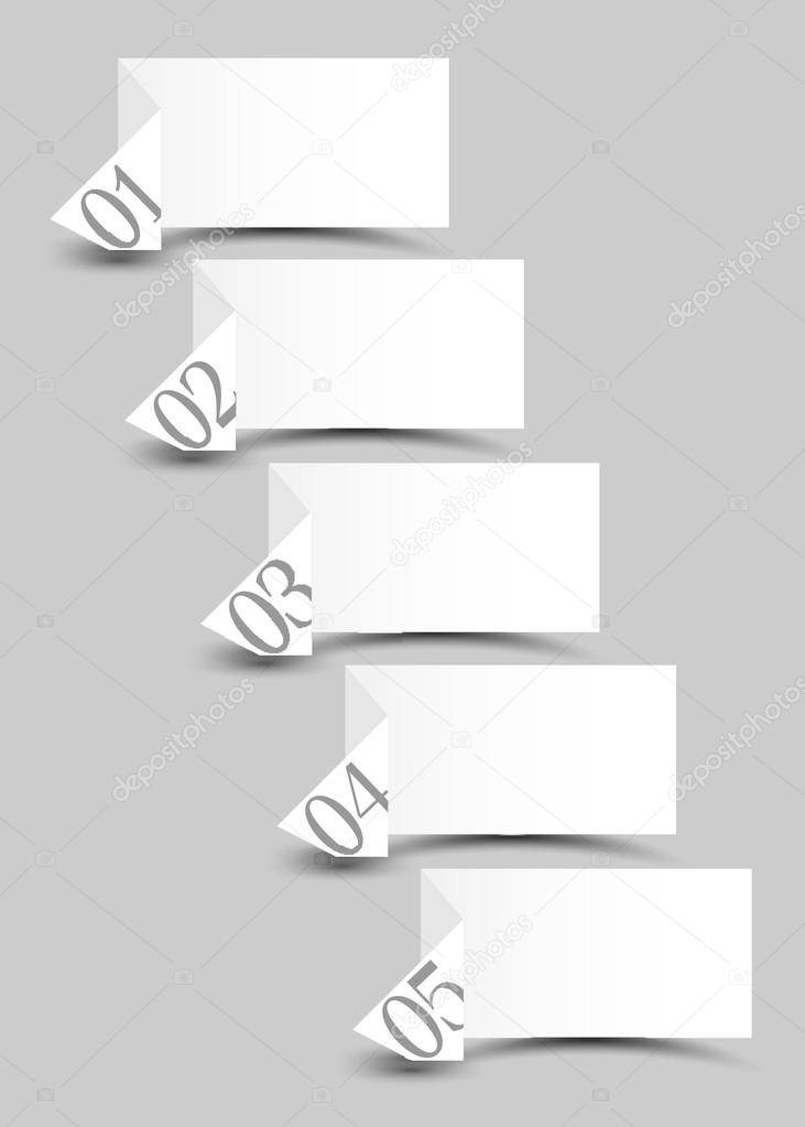 White origami paper numbered banners .Vector design template  — Stock Vector #12630686