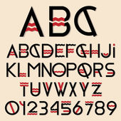 Black and red font and numbers — Vettoriale Stock