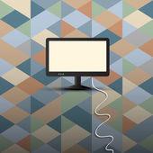 复古背景上的计算机显示器 — 图库矢量图片