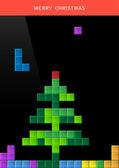 Christmas tree on game computer screen — Stock Vector