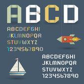 Alfabeto origami con numeri in stile retrò — Vettoriale Stock