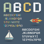 Origami Alphabet with Numbers in retro style — Stockvector