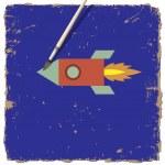 漫画ロケットの水彩絵の具 — ストックベクタ