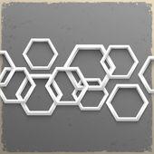 Hexágonos geométricas 3d sobre fondo grunge — Vector de stock