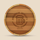 Beer label in form wooden barrel — Stock Vector