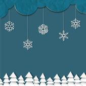 Fondo azul con copos de nieve de papel — Vector de stock