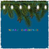 Cartolina di natale con luci e ramo di albero di abete — Vettoriale Stock