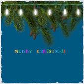Tarjeta de navidad con luces y rama de árbol de abeto — Vector de stock