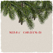 Christmas greeting card with fir branches — Stock Vector