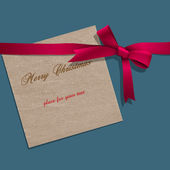 Christmas paper note with pink ribbon — Vecteur