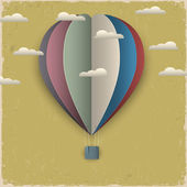 Retro hot air balloon and clouds from paper — Stok Vektör