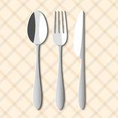 Cuillère, fourchette et couteau — Vecteur