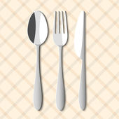 Spoon,fork and knife — Vecteur
