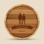 Vector beer label in form wooden barrel with two men — Stockvector