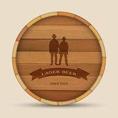 Vector beer label in form wooden barrel with two men — Stock Vector