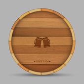 Vector beer label in form wooden barrel — Stock Vector