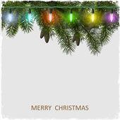 вектор рождественская открытка с ветвь дерева пихты и гирлянда — Cтоковый вектор