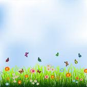 Green grass, flowers and butterflies — Stock Vector