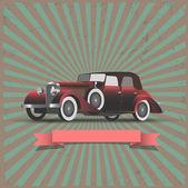Retro araba ile şerit-bayrak — Stok Vektör