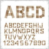 Alphabet buchstaben und zahlen aus klebeband gemacht — Stockvektor